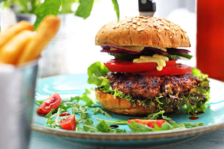 Food, appetizing burger on the plate, photo of food, offering food 스톡 콘텐츠 - 128872177
