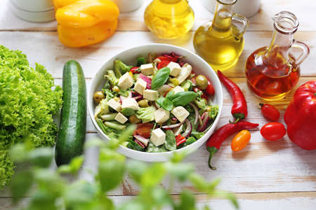 Food, appetizing salad served on a plate. Healthy diet. Vegetarian dish. 스톡 콘텐츠
