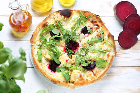 Pizza with vegetables. Served dish. culinary photography