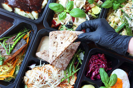 Catering. Box diet. Takeaway food in a box.