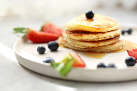 Traditional home-made pancakes, sweet, nutritious breakfast. horizontal frame Stok Fotoğraf