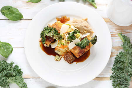 Food, an appetizing dinner dish served on a plate. Healthy diet. Vegetarian dish. Zdjęcie Seryjne