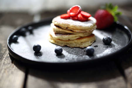 Traditional home-made pancakes, sweet, nutritious breakfast. horizontal frame Stock fotó