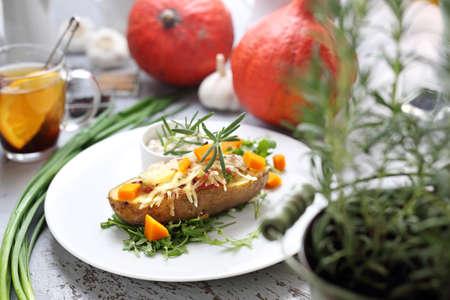 Vegetarian food. Vegetarian cooking. Appetizing vegetarian dishes. A healthy vegetable diet Stockfoto