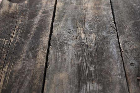 Natural dark brown wood boards. Top view, horizontal