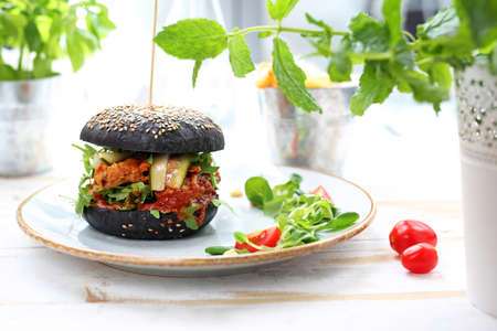 Food, appetizing burger on the plate, photo of food, offering food Reklamní fotografie - 133481115