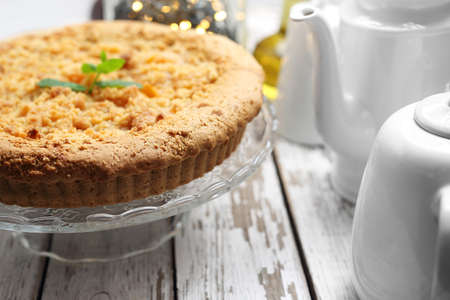 Appetizing, healthy homemade cake on the kitchen counter