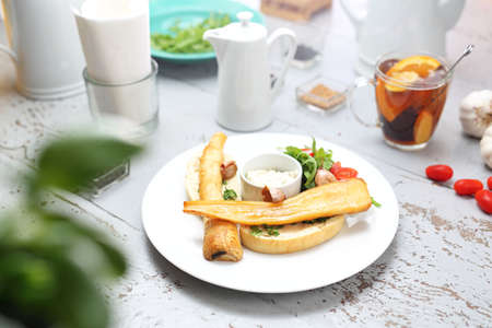 Tasty dish, dinner dish on a white wooden table Reklamní fotografie