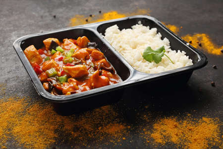 Catering. Meal prep. A meal in a box. A meal in a box. Chinese style chicken with white rice.