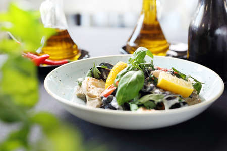 Seafood, mussels and shrimps in a lemon cream sauce Reklamní fotografie