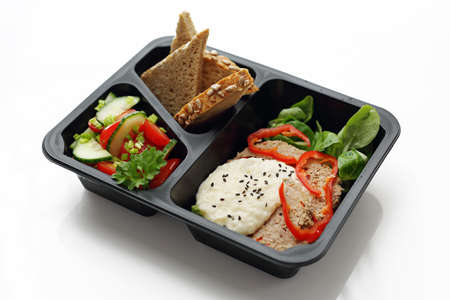 Lunch box. Prep dish in a box. eating cattering