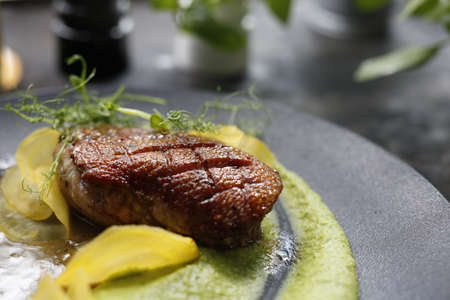 Duck breast on green pea mousse. Fried duck breast on green pea puree. Food photography, food styling.