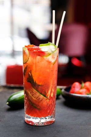 Strawberry coctail. A refreshing fruit cocktail. Stock fotó