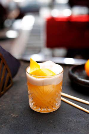 Orange cocktail. A refreshing fruit cocktail. Sweet drink with orange. A refreshing fruit cocktail. Stock fotó