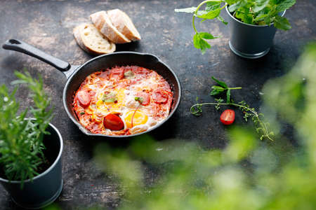 Shakshouka, eggs baked with tomatoes. Eggs and tomatoes baked in a pan. Baked eggs with tomatoes and vegetables. Ready dish served in a hot pan. Suggestion of serving the dish. Standard-Bild
