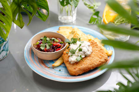 Panko fried fish with tartar sauce, fries, and salad. A colorful appetizing dish. Culinary photography, food styling.