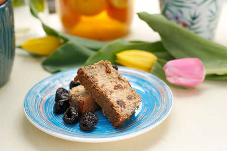 Vegetarian bean pate with plum. A colorful appetizing dish. Culinary photography, food styling.