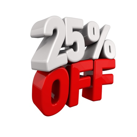 pay off: twenty-five Percent Automatic Reduction. 3d text for 25% OFF in red and white angled obliquely away from camera isolated on white