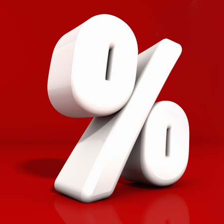 3d white percentage icon with rounded edges and reflection obliquely angled on red photo