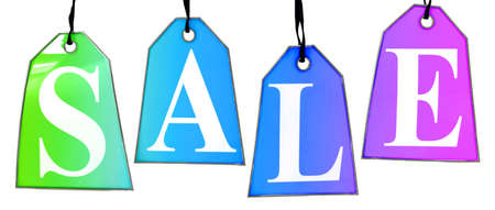 Colored Sale Tags. Four colored tags with the letters S,A,L,E on them hanging on hooks isolated on white. photo