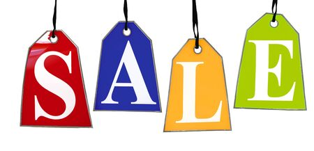 selling off: Colored Sale Tags. Four colored tags with the letters S,A,L,E on them hanging on hooks isolated on white. Stock Photo