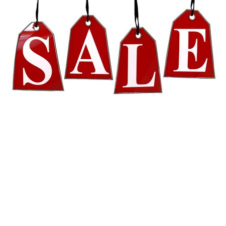 bargain: Red Sale Tags. Four red tags with the letters S,A,L,E on them hanging on hooks isolated on white.