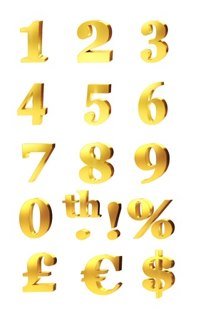 3d set of gold numerals, percentage and currency symbols for pound, dollar and euro isolated on white 版權商用圖片