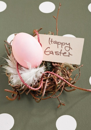 Colored egg in a small nest with a Happy Easter tag Stock Photo - 12301302