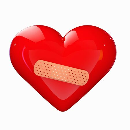 wounded heart: a red heart with a band-aid isolated on white Stock Photo