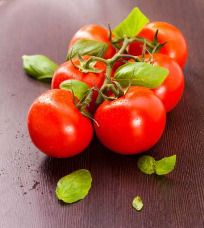 나무 접시에 바질과 포도 나무 무르 익는 토마토