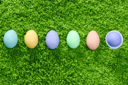 colored easter eggs in a row son green background photo