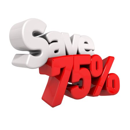A 3d render of seventy-five percent price reduction and save in text and numbers angled obliquely isolated on white photo