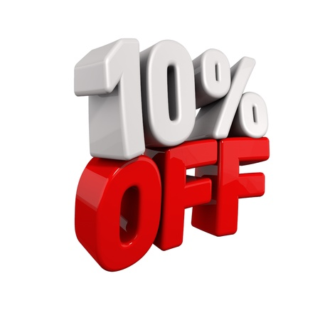 pay off: ten Percent Automatic Reduction. 3d text for 10% OFF in red and white angled obliquely away from camera isolated on white
