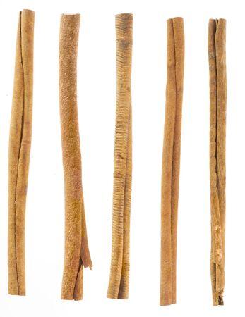 cinnamon bark: five cinnamon sticks isolated on white. High angled cinnamon sticks on white background.