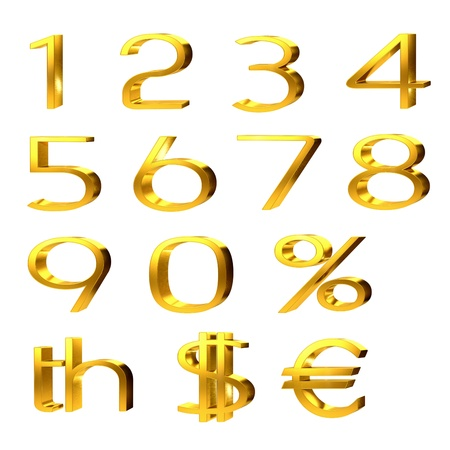 3d set of gold numerals, percentage and currency symbols for pound, dollar and euro isolated on white photo