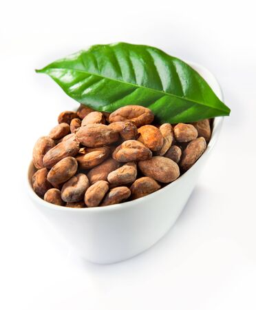 cacao: A bowl of cocoa with a green leaf isolated on white