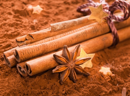 Bunch of Cinnamon with golden Stars and anise on powdered cacao photo