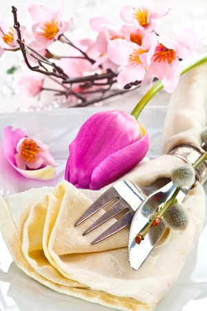 Romance Table setting with a flower and a willow knot Stock Photo - 12640187