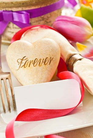 pledge: Romantic background with a heart inscribed with the word Forever, an avowal of lifelong commitment in love