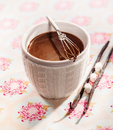 White ceramic cup of delicious thick whisked melted chocolate with vanilla pods and sugar photo