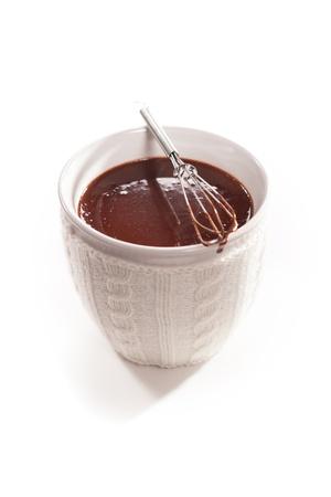 chocolat chaud: Tasse de chocolat chaud isol� sur backround blanc Banque d'images
