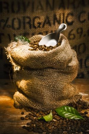 Petit sac de jute rempli de grains de café torréfiés frais surmonté d'une petite pelle avec le mot biologique mis en évidence sur la toile de jute dans le fond, conceptuel du café biologique