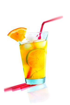 shooter drink: Summer cocktail with orange and lime