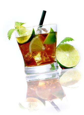libre: Cuba Libre Cocktail isolated on white background Stock Photo