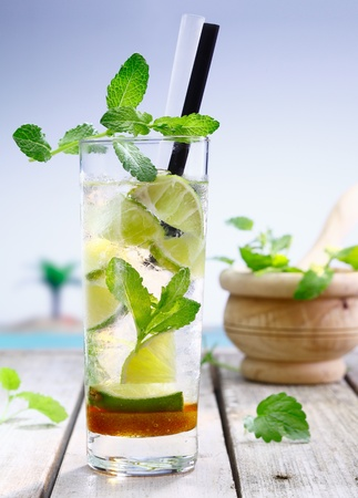 Refreshing lemon or lime cocktail served cold in a tall glass with vodka or gin and garnished with mint, perfect for that summer vacation photo