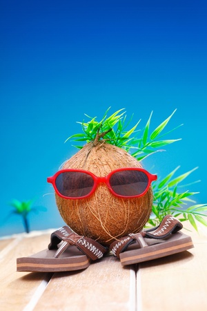 Trendy coconut with foliage hairstyle and natty red sunglasses wearing slip slops as he goes on his travels photo