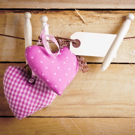 Two romantic pink patterned textile hearts hanging from rustic wooden pegs with a blank label photo
