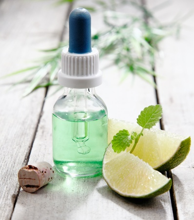 aromatherapy oil: Mint essential oil with lemon for use in an aromatherapy treatment for relaxation and rejuvenation