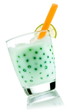 Boba bubble Tea with fresh lime Bubbles isolated on white with beautiful reflexion. photo