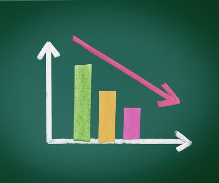 decreasing in size: Colored grafico a barre decrescente con due bar e frecce e di dimensioni decrescenti nel tempo, strappo con il gesso su una lavagna